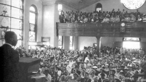 Dr. King at Mass Meeting at Holt Street Baptist Church, 1955.